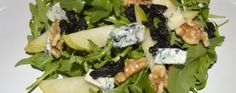 Rocket and Gluten Free Bury Black Pudding Salad This mixes up some bold flavours; sweet salty and earthy all topped of with crunchy and a light zingy dressing. Best of all it is totally gluten free and you would never even know it. Black Pudding, Pudding Recipes, Blue Cheese, Bury, Pears, Gluten Free Recipes, Glutenfree, Earthy, Sushi