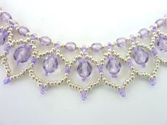 FREE beading pattern for Crystal Petals necklace, made with 4mm & 6mm round crystals and 11/0 Czech seed beads