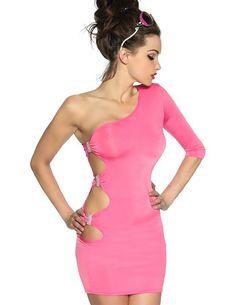 Club Kleid in Rosa mit Aussparungen im Hüftbereich und mit Strass verziert - zu kaufen im zugeschnuert-shop.de