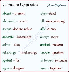 Common Opposites English Letter, English Verbs, Kids English, English Writing, English Study, English Lessons, English Vocabulary, English Grammar, Learn English