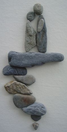 Pebble Art: Pebbles on canvas.