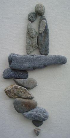 Pebble Art: Pebbles on canvas.