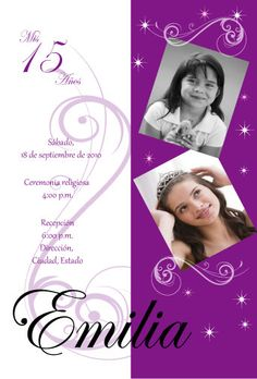 Two photo Quinceanera invitation with stars. $20.00, via Etsy.