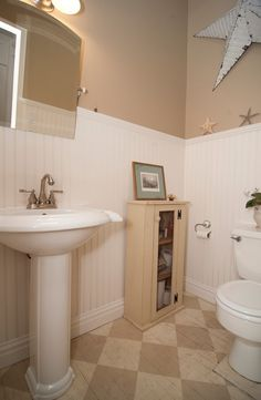 Cottage Powder Room with Wainscoting, Flush, Flat panel cabinets, Floor Opedics Marmoleum Checkered Tile, Pedestal sink