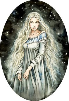 Queen of the stars by liga-marta.deviantart.com on @deviantART This artist has a gorgeous gallery of Tolkien inspired fan art including characters from the under represented Silmarillion, painted in a beautiful storybook style.