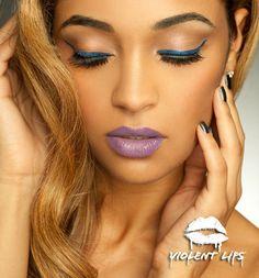 Violent Eyes - Sapphire Glitteratti - Cat Eyeliner Style **Love the lip color**