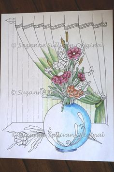 Flowers Coloring Page Adult Coloring Page by ColorMeArtStudio