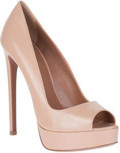 Ala a Nude leather peep toe pump Alaia