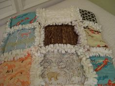 Woodland Creatures Baby Rag Quilt Brown Orange Teal by CottageDome, $98.00