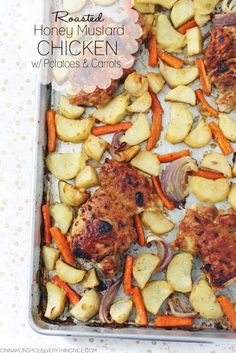 Roasted Honey Mustard Chicken Thighs with Potatoes & Carrots