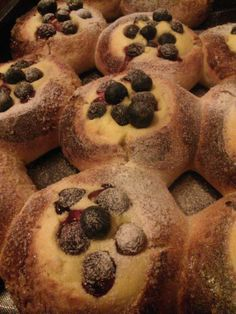 Delicious buns with white chocolate and blueberries
