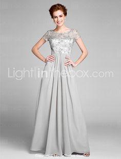2017 Lanting Bride® Sheath / Column Mother of the Bride Dress Floor-length Short Sleeve Chiffon with Pleats 2017 - $99.99