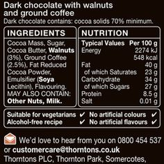 Discover Thorntons coffee and walnut chocolate block, this rich dark chocolate bar is infused with coffee flavours and complemented with a crunch. Dark Chocolate Bar, Dairy Free Chocolate, Cocoa Butter, Nutrition, Coffee, Sweet, Kaffee, Candy, Cup Of Coffee
