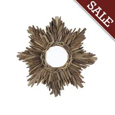 Rustic driftwood sunburst mirror - Ballard Designs