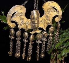 Chinese Miao silver bat tribal necklace
