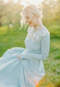 Pale blue silk dress Lorem and decoration at dress - handmade. Designer wedding dresses, accessories