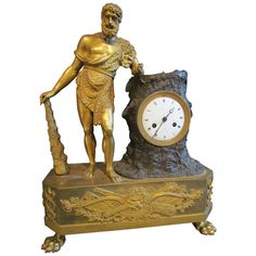 "A French Empire Figural Mantel Clock ""Hercule Farnèse"" by Claude Galle 