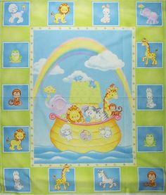 noah's ark precious moments fabric panel