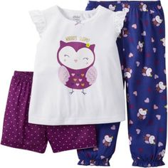 Child of Mine made by Carter's Baby Toddler Girl Shirt, Short and Pant Pajama Set 3 Pieces, Size: 3 Years, Purple