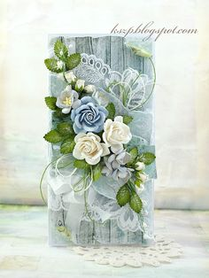 Hello everyone Today I'd like to show you a turquoise card with bouquet of beautiful WOC flowers.   And this is the way I made triple leaves:  Have a great Thursday! Klaudia SUPPLIES: MIXED BLUE TONE