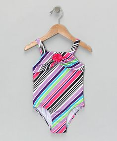 Take a look at this Black & Purple Stripe One-Piece - Infant, Toddler & Girls by Penelope Mack: Swimwear on #zulily today!