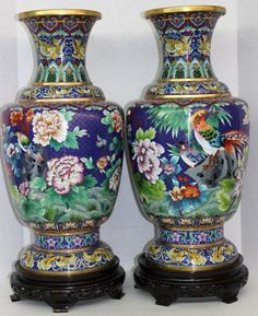 Massive Pair of Chinese Cloisonne Vases : Lot 26 ✖️No Pin Limits✖️More Pins Like This One At FOSTERGINGER @ Pinterest✖️