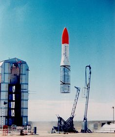 The British Black Arrow rocket, about to successfully launch the Prospero satellite in 1971.