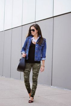 April Side-by-Side Challenge: J. Crew Factory jean jacket, Gap camo pants, Kate Spade purse, bloom statement necklace