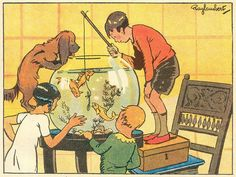 Fishing in a goldfish bowl, from a vintage French book illustrated by Ray Lambert