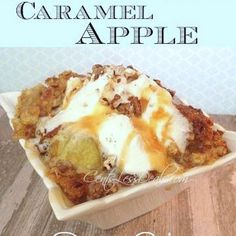 Caramel Apple Dump cake recipe with 4 ingredients! Recipe Desserts with apple pie filling, yellow cake mix, butter, caramel sauce, cinnamon, chopped pecans, whipped cream
