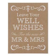 White ink typography kraft paper rustic wedding paper plate ...