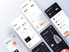 Smart Home App - All Screens by Johnny Kyorov on Dribbble Mobile Ui Design, App Design, Scan App, Screen Design, Mobile Application, Data Visualization, Ios App, Smart Home, Screens