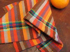 Napkin, Hand Woven Cloth, Fiesta Orange Twill Stripe Cotton, Bread, Baked Goods Basket, Cottage Kitchen Home Decor, Gourmet Foodie Gift