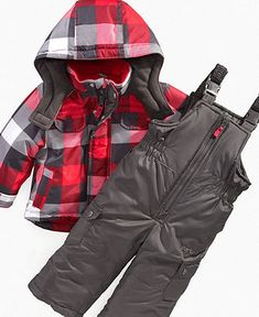 Carter's Baby Set, Baby Boys Plaid Snow Suit Bib and Jacket - Kids Baby Boy (0-24 months) - Macy's