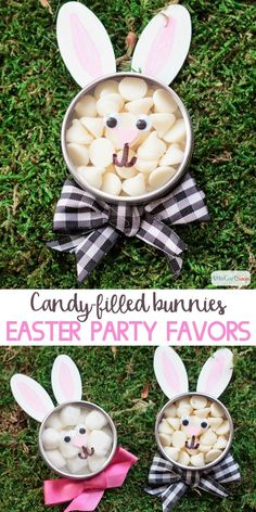 Easter Bunny Candy Party Favors - Aren't these bunnies just the cutest? Fill these Easter party favors with your white chocolate ch - Easter Peeps, Easter Candy, Easter Gift, Easter Crafts, Holiday Crafts, Easter 2018, Easter Food, Easter Brunch, Spring Crafts