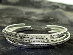 Personalized Silver Bracelet - hand stamped sterling cuff bracelet custom made with your chosen message - by Kathryn Riechert (tiny text)