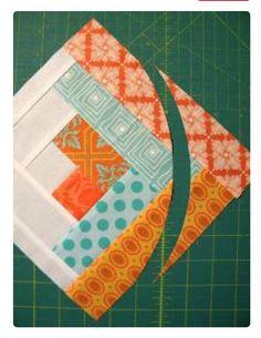 "Sew Quilt Sew Kind Of Wonderful: ""Curve it up"" Log Cabin ~ Block Log Cabin Quilt Pattern, Log Cabin Quilts, Quilt Block Patterns, Pattern Blocks, Quilt Blocks, Log Cabins, Circle Quilts, Square Quilt, Quilting Designs"