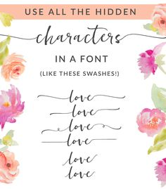 Use the Private Use Area in a Font / Access Hidden Characters - Fonts - Ideas of Fonts - How to Use the Private Use Area in a Font. This Trick Will Let You Use The Hidden Characters in Your Fonts! Handwritten Fonts, Calligraphy Fonts, Typography Fonts, Calligraphy Alphabet, Free Cursive Fonts, 100 Fonts, Font Free, Cute Fonts, Fancy Fonts