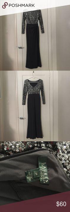"""Lauren by Ralph Lauren Gown Women's Gray Petite Long-Sleeve Sequin Gown - Fits a 5'2"""" frame of smaller. Lauren Ralph Lauren Dresses Maxi"""