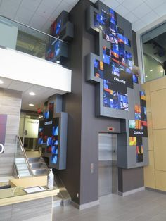 interesting lobby- installation with Christie microtiles. intersting... not so much beautifull but it might fit the interior architecture