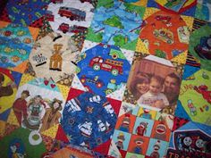 How cute is this quilt.  She added pictures in with the fun prints.  See more pictures on my blog.