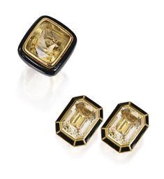 PAIR OF 18 KARAT GOLD, CITRINE AND ENAMEL EARRINGS AND RING, DAVID WEBB