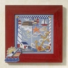 """MH147105 - Seaside Sampler (2007) - Mill Hill - Buttons and Bead Kits - Spring Series Kit Includes: Beads,ceramic button, perforated paper, floss, needles, chart and instructions. Mill Hill frame GBFRM9 and Pin Kit MH187105 sold separately Size: 5"""" x 5"""""""