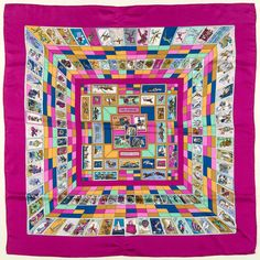 Hermes Silk Scarf, 'Correspondance' by Caty Latham   From a collection of rare vintage scarves at https://www.1stdibs.com/fashion/accessories/scarves/