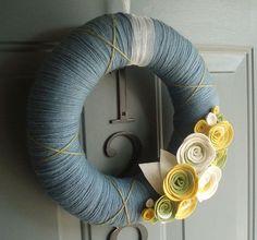Yarn Wreath Felt Handmade Door Decoration - Cornflower 12in | Yarn ...