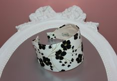 Fashion headband for women. Ivory retro flower print headcover. cotton fabric headband scarf