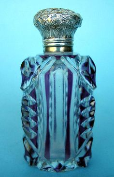 PURPLE OVERLAY FLIP TOP SCENT BOTTLE STERLING TOP COOL! For Sale | Antiques.com | Classifieds