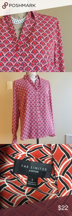 """The limited Ashton button down blouse Excellent condition. Pretty fantail print. Your favorite new blouse. Roll tab sleeves. Roomy fit. Bust measures 19"""", length is 25.5"""". Add this to a bundle to save 15%. The Limited Tops Button Down Shirts"""