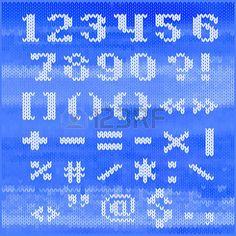 Gebreide vector alfabet, witte vette schreefloze letters op blauwe melange achtergrond. photo