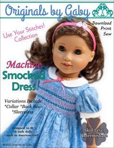 Originals By Gaby Smocked Dress Doll Clothes Pattern 18 inch American Girl Dolls | Pixie Faire